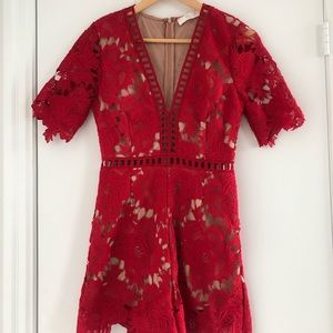 Astr Red Lace Romper